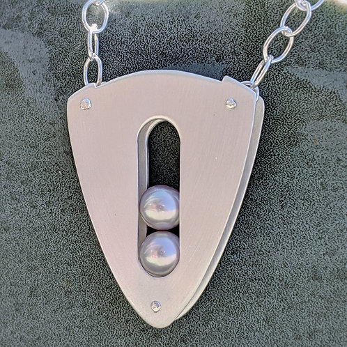 Embark Necklace with 2 Lavender 5mm Pearls, Brushed Texture