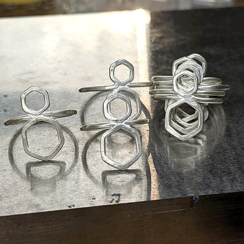 Double Hex Rings - Fused Hexagon Argentium Silver Rings Handmade