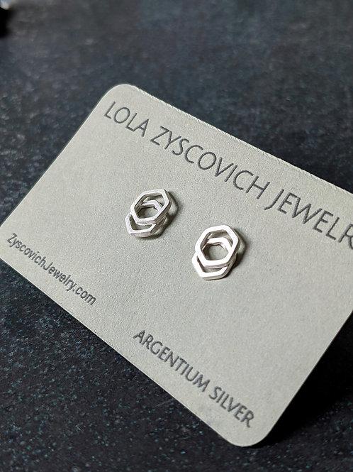 Stacked Hex Studs in Argentium Silver