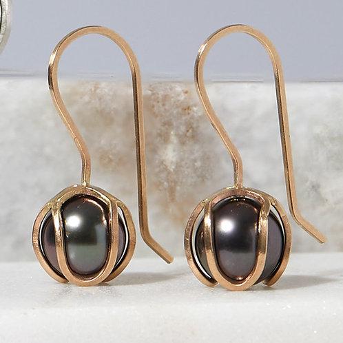 Black Tahitian Pearls in Handmade Solid 14K Gold Iris Bud Drop Earrings