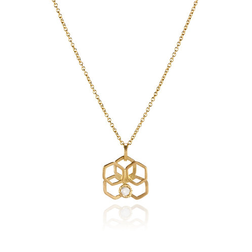 Orchid Pendant Necklace 14K gold with Opalescent Diamond