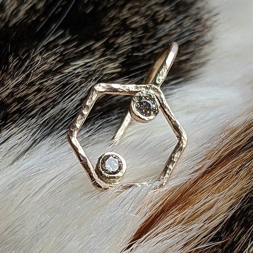 Diamond Hexagon Earrings 14K Gold and Champagne Diamonds