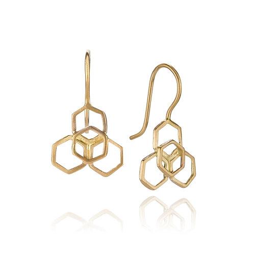 Honeycomb flower drop earrings 14k gold