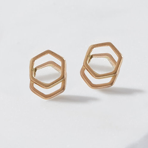 Solid 14K Gold Handmade Stacked Hex Studs