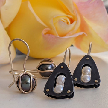 Black and Gold Iris Bud Drop Earrings and Embark Earrings with Pearls