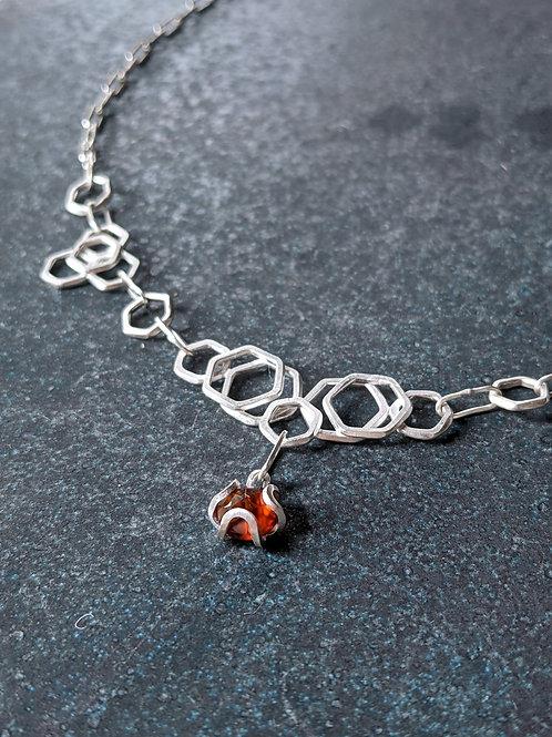 """Honeycomb Handmade 21"""" Chain with Hessonite Garnet"""