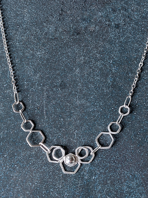 Hexagon lotus necklace