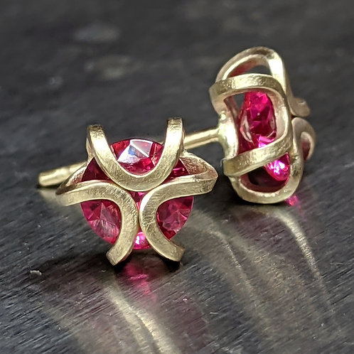 14K Gold Iris Studs with Rubies