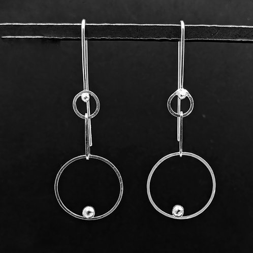 Dot Chain Argentium Silver Drop Earrings