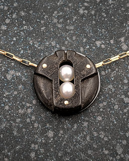 Carved Ebony Circle Necklace with White Pearls and 14K Gold