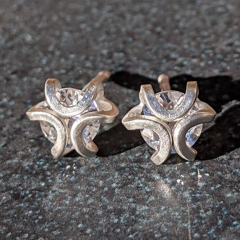 Iris Studs 5mm White Sapphire and Argentium Silver.jpeg