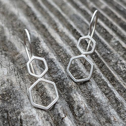 Double Hex Drop Earrings