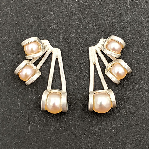 Ray Post Earrings in Argentium Silver with Peach Pearls