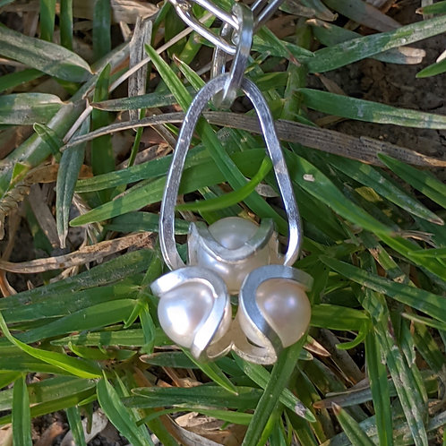 Aster Pearl Charm Necklace in Argentium Silver