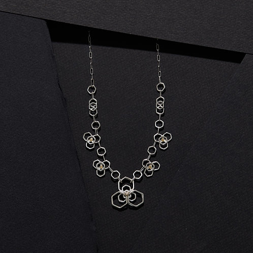 Diamond and Mixed Metal Flower Hex Necklace with 14K Accents
