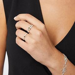 Rough Luxe Black Diamond Rings and Flower Hex Bracelet.jpg
