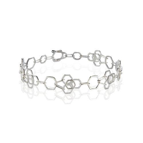 Flower Hex Handmade Chain Bracelet in Argentium Silver