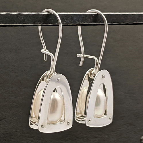 Arc Drop Earrings with AAA Quality White Drop Pearls and Kidney Ear Wires