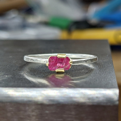 Natural Ruby Ring with 18K Gold and Argentium Silver