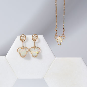 Honey Drop Earrings and Open Iris Necklace with Opals in Solid 14K Gold.jpg