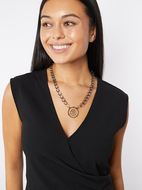 Rutilated Quartz Mixed Metals Etruscan Chain Necklace on Model