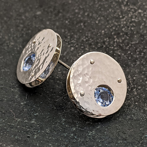 Argentium Silver Pluto Post Earrings with Aquamarine and Hand-Hammered Finish