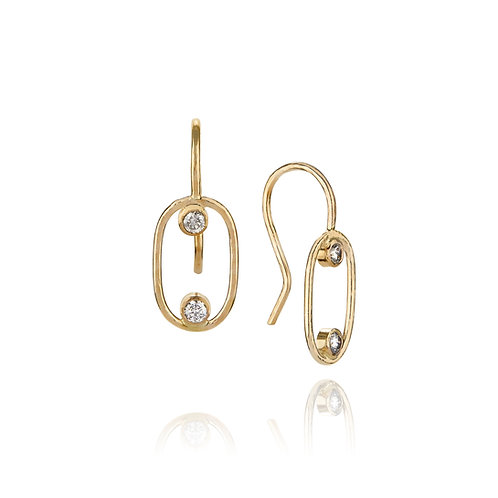 14K Oval Drop Earrings with Grey Diamonds