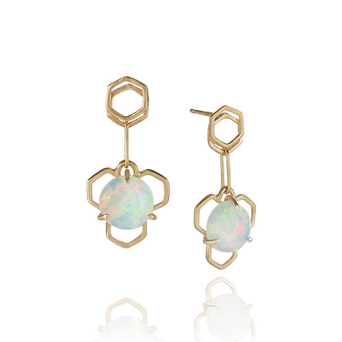 Honey Drop Earrings in Solid 14K Gold with Welo Opals