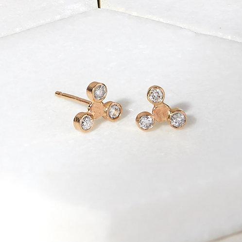 Handmade Diamond Trio Stud Earrings in Solid 14K Gold