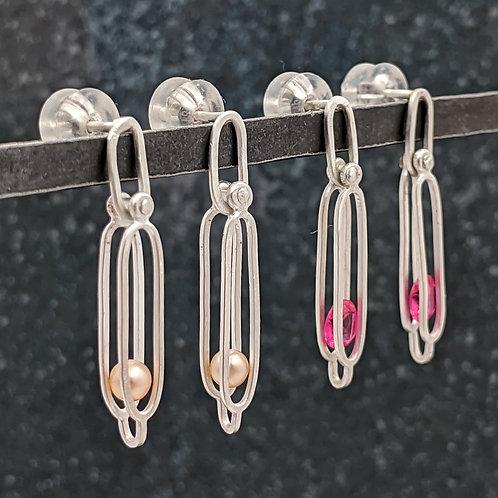 Pink Pearls and Rubies in Petite Handmade Chain Drop Earrings