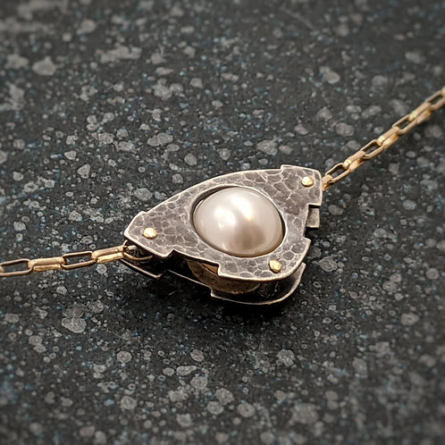 Mecha Necklace in 14K Gold and Oxidized Silver