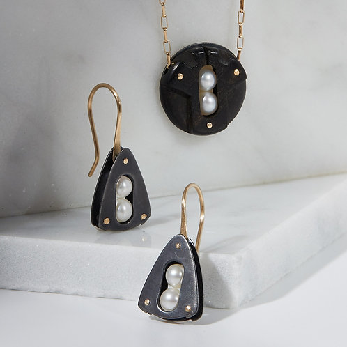Embark Earrings in Oxidized Silver with 14K Gold