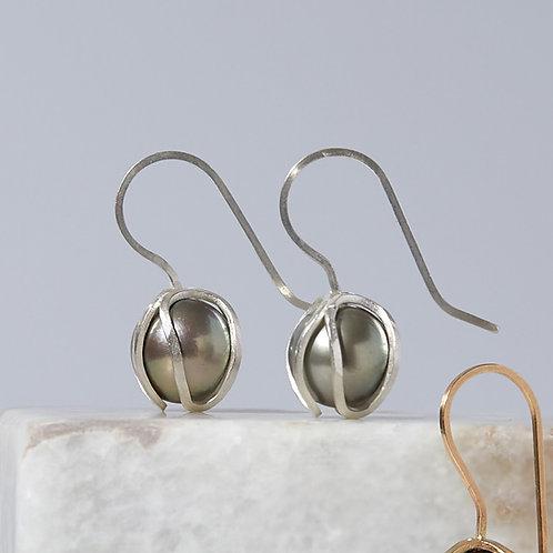 Grey Tahitian Pearl Iris Bud Drop Earrings in Argentium Silver