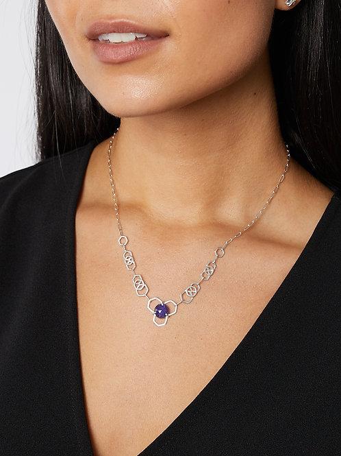 Iolite Honeycomb Hexagon Handmade Chain Necklace on model