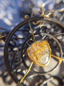 Gold Rutilated Quartz with 18K and Oxidized Sterling Silver Mixed Metals Handmade Chain