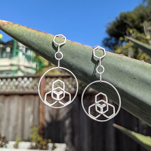 Hex Flower Circle Drop Earrings with Posts