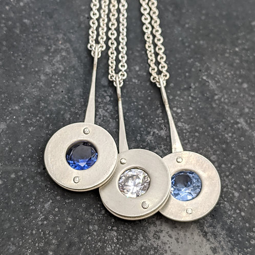 Atom Necklaces with Sapphire, Cubic Zirconia and Aquamarine