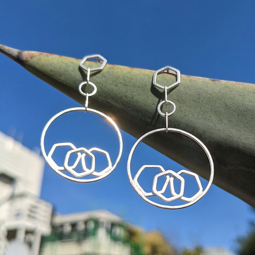 Stacked Honeycomb Circle Drop Earrings