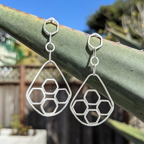 Tortoiseshell Hex Drop Earrings with Posts