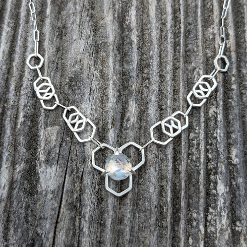 Moonstone Honeycomb Chain Necklace