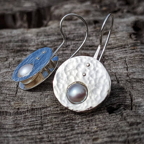 Pluto Drop Earrings with Natural AAA Quality Round Lavender Pearls and a Hammer Finish