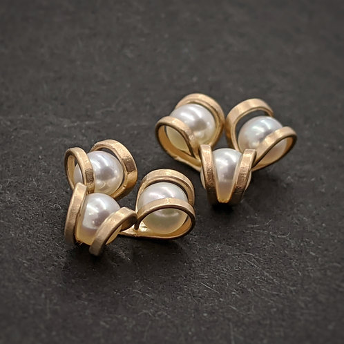 Gold Post Earrings with White AAA Pearls - Aster