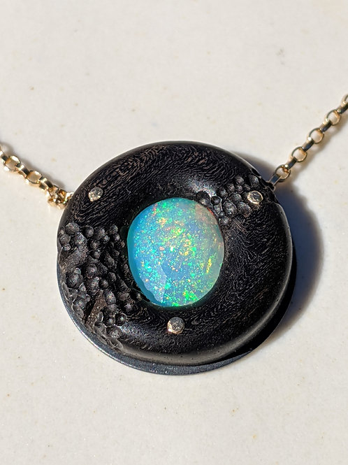 Opal Mars Necklace in Ebony and 14K Gold