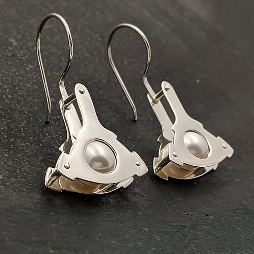 Polished Mecha Drop Earrings with White Pearls and Hand-Forged Rivets