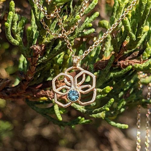 Montana Sapphire 14K Orchid Honeycomb Pendant Necklace