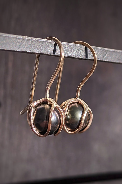 Iris Bud Drops with Tahitian Pearls in 14K Gold