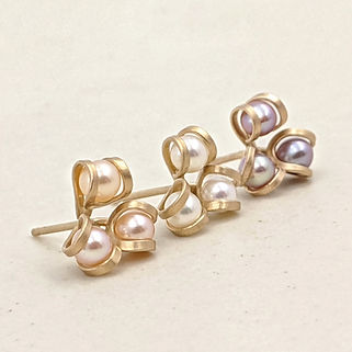 Gold Aster Earrings with Pink White or L