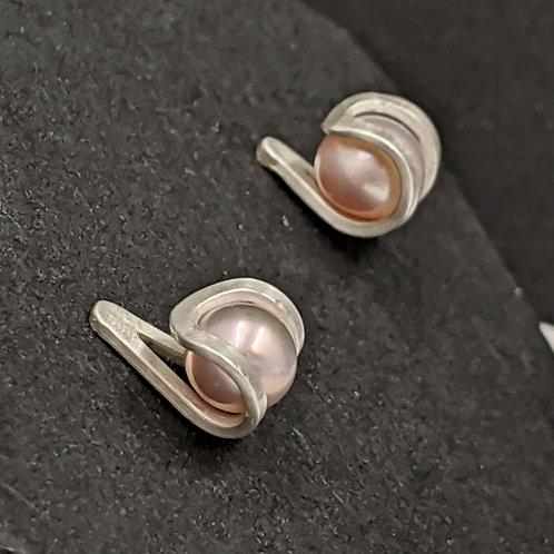Pink Pearls in Tone #2 Stud Earrings - Argentium Silver