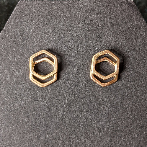 Solid 14K Gold Stacked Hexagon Studs