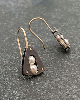 Oxidized Silver and 14K Gold Riveted Earrings with White Pearls